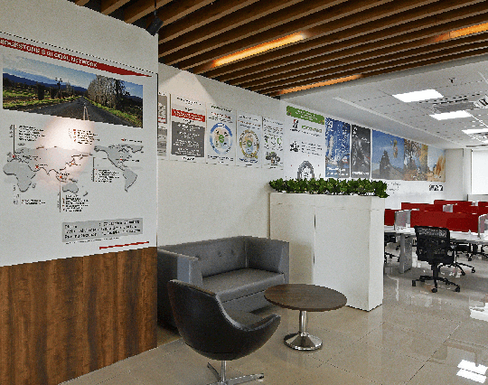 Reception and cafe, corporate office interior of Bridgestone